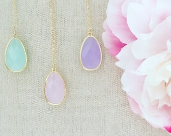 Gold Necklace Mint Necklace Bridesmaid Necklace Mint Wedding Best Friend Gifts Statement Necklace Pastel jewelry Blush Necklace mothers day