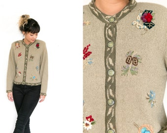 Vintage Knit Cardigan / Embroidered Cardigan Sweater / Olive Green Knit Cardigan / Holiday Winter Pinecone Sweater Stretch Silk Knit