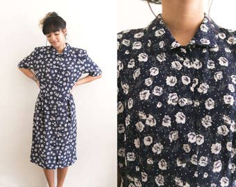 Vintage Blue Floral Dress / Floral Shirtdress / Collared 90s Dress / Short Sleeve Midi Dress Buttoned Dress / Roses Long Summer Boho Hippie