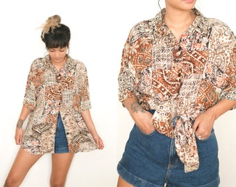 Tribal Print Button Up Blouse / Brown Batik Button Up Shirt / Abstract Blouse / 80s All Over Print Boho Collared Oversized Long Short Sleeve