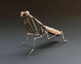"Watch Parts Praying Mantis ""Mantis No 40"" Sculpture Recycled Mechanical Clockwork Mantis Mantid Watch Stems Faces Insect A Mechanical Mind"