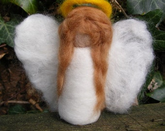 Needlefelted Angel with Light Brown Hair - Waldorf Style for Christmas Decoration, Ornament or Nativity