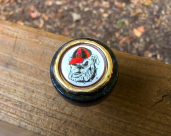 Unique solid marble top wine bottle stopper adorned with a Georgia Bulldog inspired image