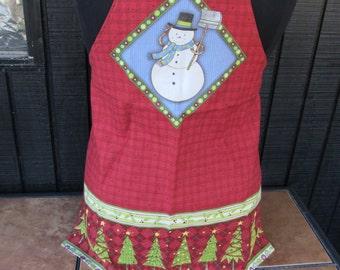 Ladies Apron Snowman Christmas Trees Handmade Debbie Mumm Fabric