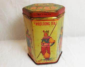 Vintage Kwong Sang Tea Co, Tea Tin, King Liu Pei and Generals, Red Lid, Wooloong Tea Tin
