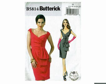 Fitted Bombshell Dress vintage inspired Butterick 5814 Patterns By Gertie Uncut Sewing Pattern Sizes 14 16 18 20 22 Bust 36 38 40 42 44 OOP