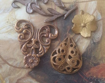 Vintage Gorgeous Filigree Old Brass Pendants Pieces Lot