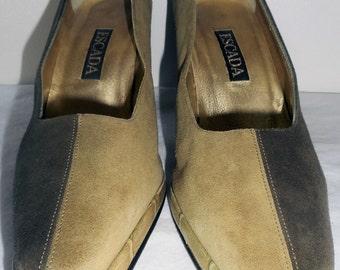 ESCADA Vintage Shoes Pumps Heels 6.5 36.5 Olive Moss Green Suede Leather HapaChico