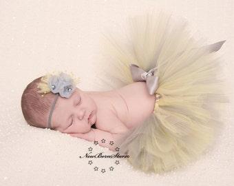 Yellow and gray tutu, Baby Tutu, Newborn Tutu, 1st birthday tutu, tutus for children, baby tutus, mommy and me tutu, birthday tutu