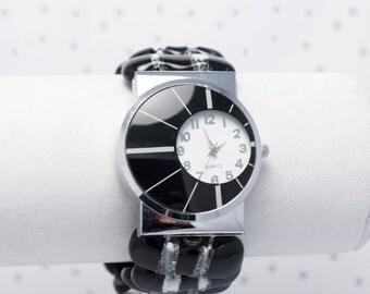 Montre bracelet en verre fusionné noire