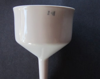 large porcelain funnel   strainer  vintage funnel  most unusual  labratory