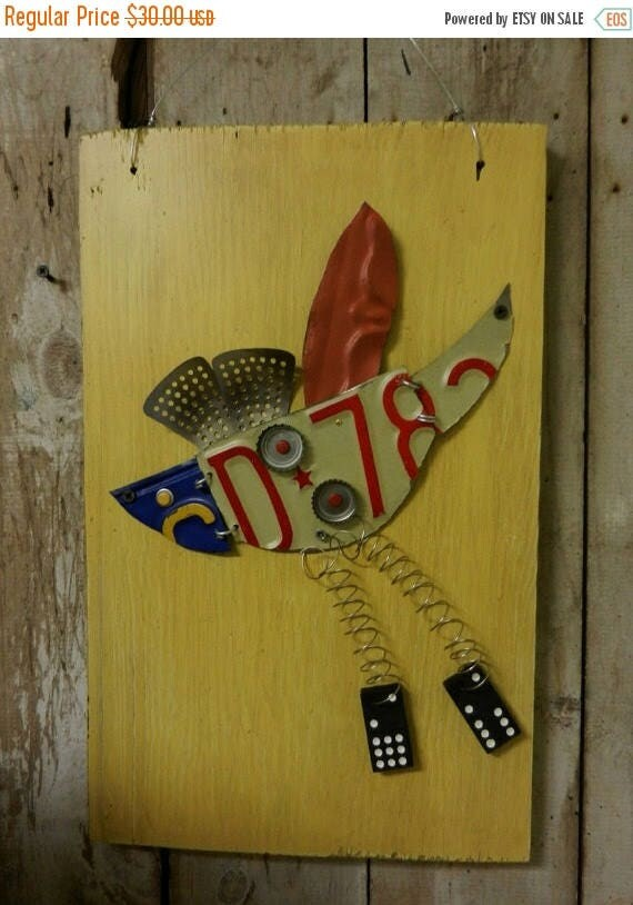 Funky Junk Bird / Metal Assemblage / Altered Wall Art / Fly Free