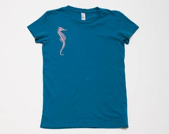 SALE Shirt, Seahorse Tee, Size S