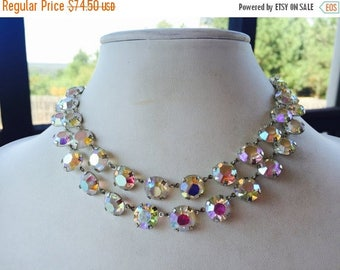 SPRING SALE Couture Bridal Necklace True Vintage Mid Century Bezel Set Two Strand Aurora Borealis Crystal Necklace
