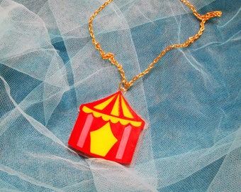 Colorful CIRCUS TENT Acrylic Necklace with Gold Tone Chain and Clasp