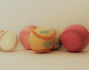 6 decorative baseballs for decor | sports decor | game room decor | naturally distressed baseballs | sports room decor | baseball collection