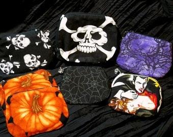 halloween purse choice of pumpkin, spiderweb, dracula, creepy trees or skull & crossbones UK seller