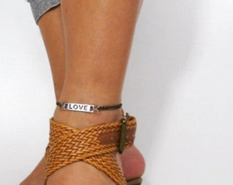 love ID charm anklet chain link antiqued silver lobster clasp. Spring/Summer fashion. Valentine's Day gift for daughter.