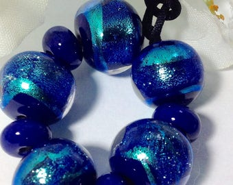 Deep Sea lampworked dichroic beads