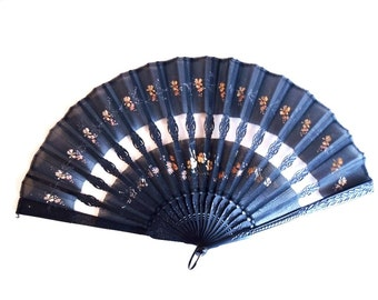 Antique Victorian Mourning Fan Hand-Carved Ebonized Wood Guards & Sticks Delicately Colored Hand-Painted Floral Design on Black Silk 16 in.