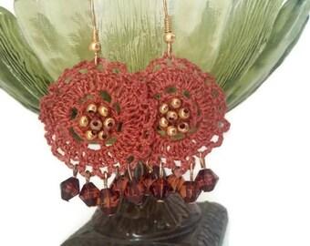 Crochet Earrings, Beaded Earrings, Dangle Earrings, Crystal Dangle Earrings, Beaded Crochet Earrings, Autumn Earrings, Fall Earrings