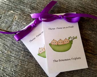 Triplets Three Peas in a Pod Baby Sweet Pea Shower Flower Seeds Party Favors - Baby Sprinkle Packets Earth friendly and cute too