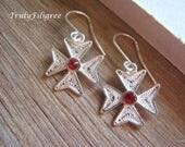 Maltese Cross Earrings,Silver Maltese Cross Earrings,Filigree Maltese Cross Earrings,Malta Cross,Handmade Filigree Earrings,Dangle Earrings