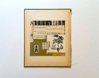 Original paper collage, vintage paper collage, found paper and book part collage