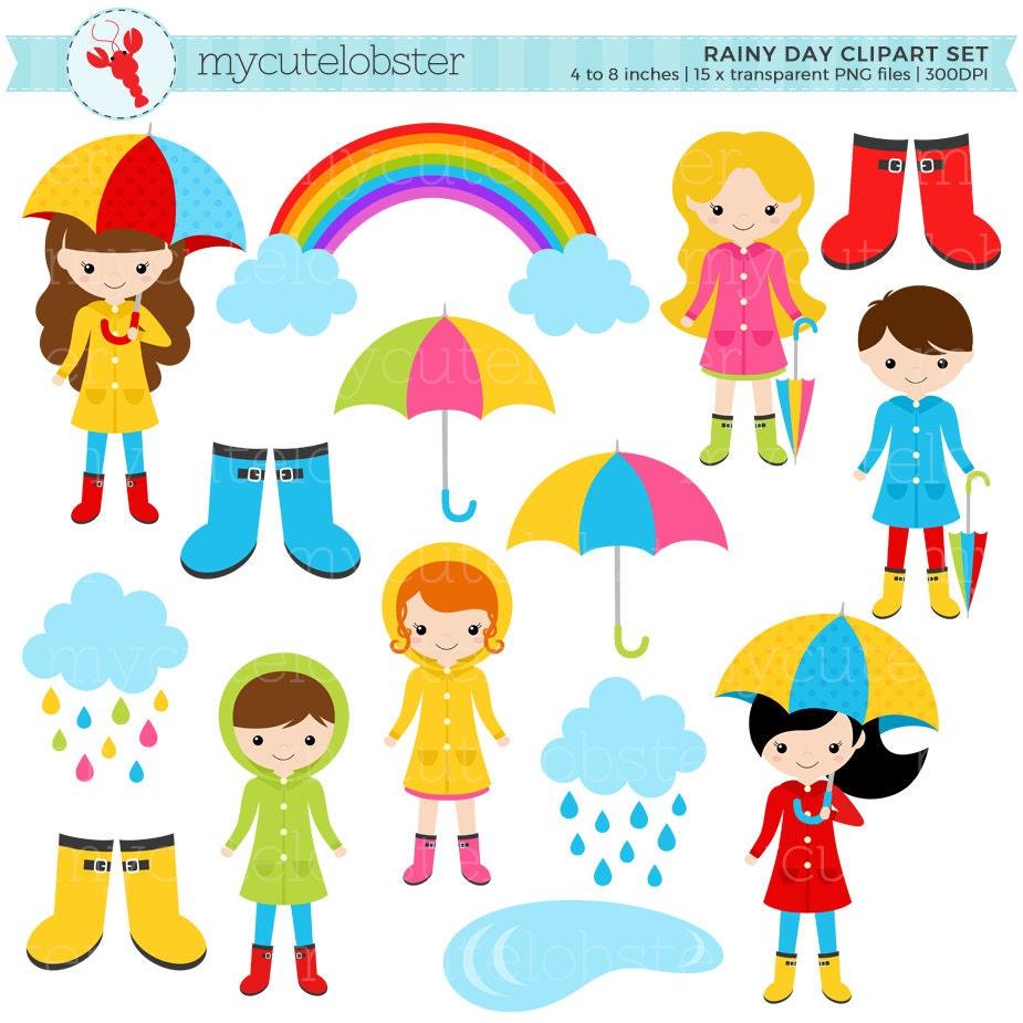 Rainy Day Clip Art: Rainy Day Character Clipart Set Clip Art Set Of Rain