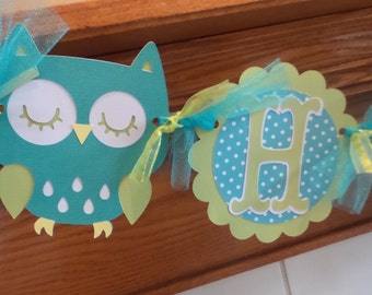 Owl Birthday Banner, Teal Green Closed Eye Owl Banner, Teal green Happy Birthday Decor, 1st Birthday banner, owl high chair banner,