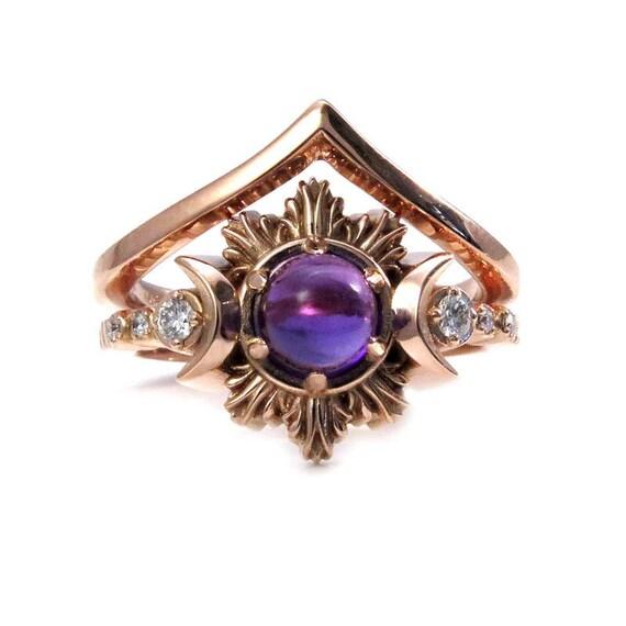 Bohemian Moon Engagement Ring Set - Amethyst and Diamond Celestial Fine Jewelry