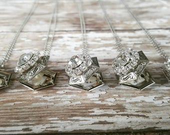 Personalized Locket Necklace - Bridesmaid Locket Necklace - Layering Necklace -Photo Locket -Vintage-Silver Locket -Sterling Silver Necklace