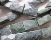 Green Marble Rectangle Faceted Beads 18x13mm 12 Beads
