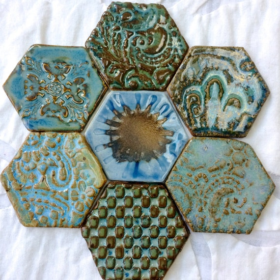 Magnet Set, Fridge Art, Refridgerator Magnet Set, hostess gift, blue magnet, Hexagon tile magnets, fridge magnets, ceramic pottery magnets,