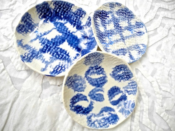 Blue and White, porcelain bowl set, Mothers Day, small dish, ring dishes, prep dish, salt dish, ring bowl, snack dish, dipping bowl, shibori