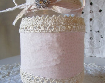 Shabby chic rustic wedding table decor, lace decorative mason jar, blush and lace mason jar, baby shower or bridal shower decorations