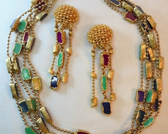Vintage Enamel Necklace / Earrings Set / Lot Gold Tone Multi Colored Large Chunky Art Deco Statement Runway