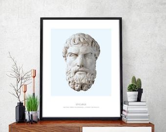 Epicurus   Portrait of Epicurus, Philosophy, Epicurus Bust, Epicurus Photo, Epicurus Art Print, Modern Home Decor, Blue, Epicurus Bust Print