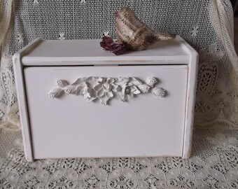 Shabby White, French Country Romantic, Wood storage box, repurposed vintage, front open box