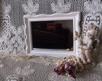 Small mirror, Rustic chic, Heirloom white, shabby chic wall, repurposed