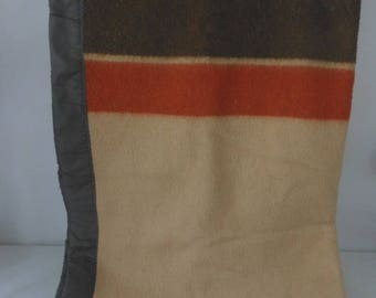 "Acrylic Blend Blanket Beige Brown Sienna Stripe 65"" X 89"" Binding 4 sides"
