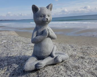 Buddha Cat, Meditating Cat, Yoga Cat Garden Decor, Cat Statue, Prayer Pose, Concrete Zen Statue, Cement Yard Art, Cat Memorial, Yogi Decor