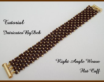Tutorial Beaded Right Angle Weave Flat Cuff Bracelet - Jewelry Beading Pattern, Beadweaving Instructions, PDF, Do It Yourself, Download