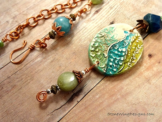 Peacock Necklace in Blue Apatite, Green Garnet, Angelite and Copper OOAK