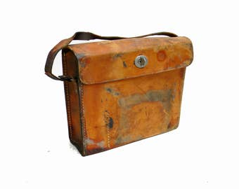 Vintage WWII Leather Bag 1940s Military