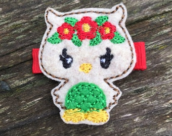 Christmas Woodland Owl Tan Red Green Felt Owl Hair Clip Baby Toddlers Girls