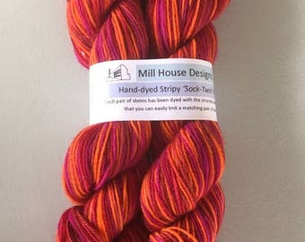 Handdyed Sock Yarn, Sock-Twin Yarn, Stripy Sock Yarn, Knit Matching Socks