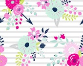 Grace and Cruz Design Your Own - Bright Florals on Grey Stripes // Pink, Fuchsia, Aqua Mint, Navy and Lime Green// Baby Girl Nursery Bedding