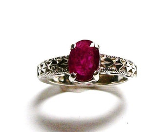"Ruby ring, genuine ruby, ruby solitaire ring, engagement ring, anniversary ring, red,  s 6 3/4    ""Red Red"""