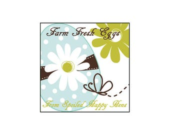 Farm Fresh Eggs from Spoiled Happy Chickens Glossy Egg Carton Labels Set of 30